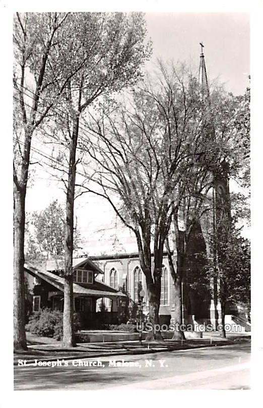 St Joseph's Church - Malone, New York NY Postcard