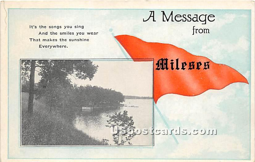 A Message - Mileses, New York NY Postcard