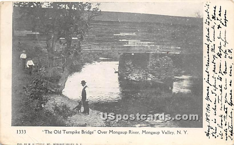 The Old Turnpike Bridge - Mongaup Valley, New York NY Postcard