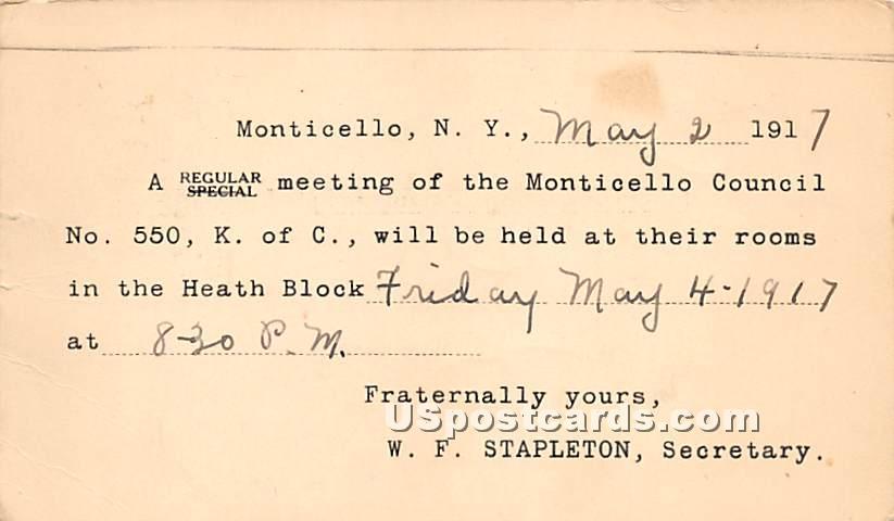Monticello Council - New York NY Postcard