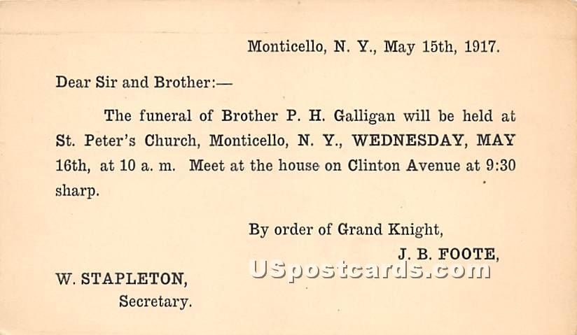 The Funeral of Brother PH Galligan - Monticello, New York NY Postcard