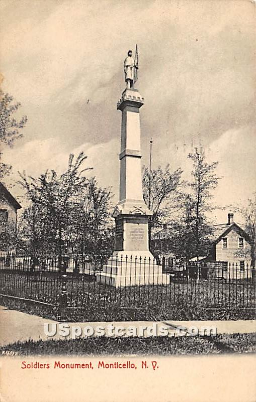 Soldier Monument - Monticello, New York NY Postcard