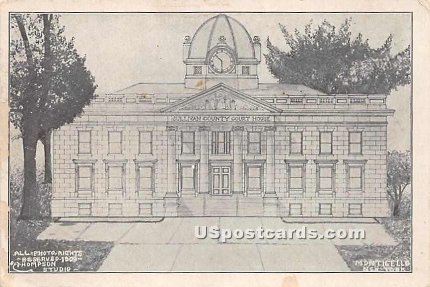 Sullivan County Court House - Monticello, New York NY Postcard