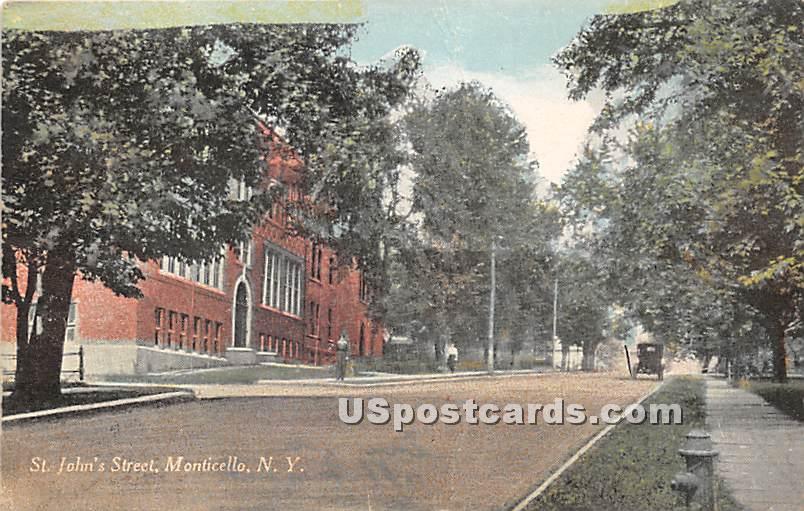 St John's Street - Monticello, New York NY Postcard