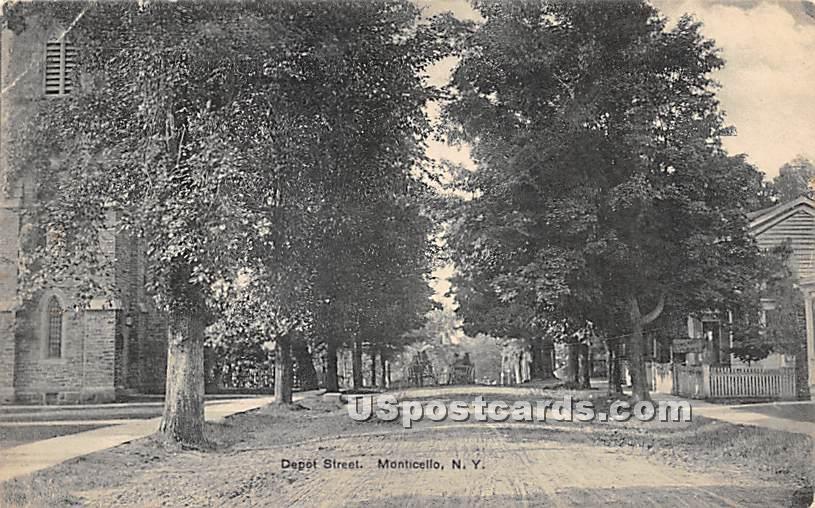 Depot Street - Monticello, New York NY Postcard