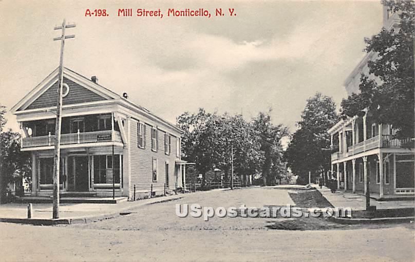 Mill Street - Monticello, New York NY Postcard