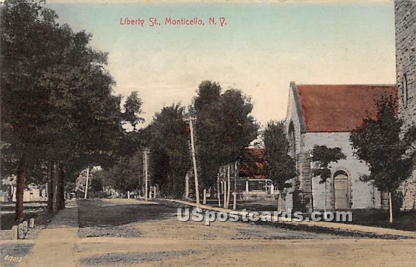 Liberty Street - Monticello, New York NY Postcard