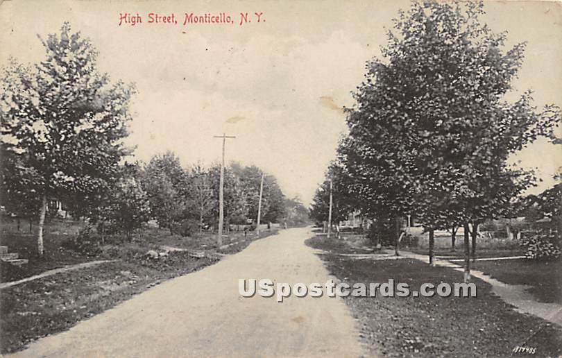 High Street - Monticello, New York NY Postcard