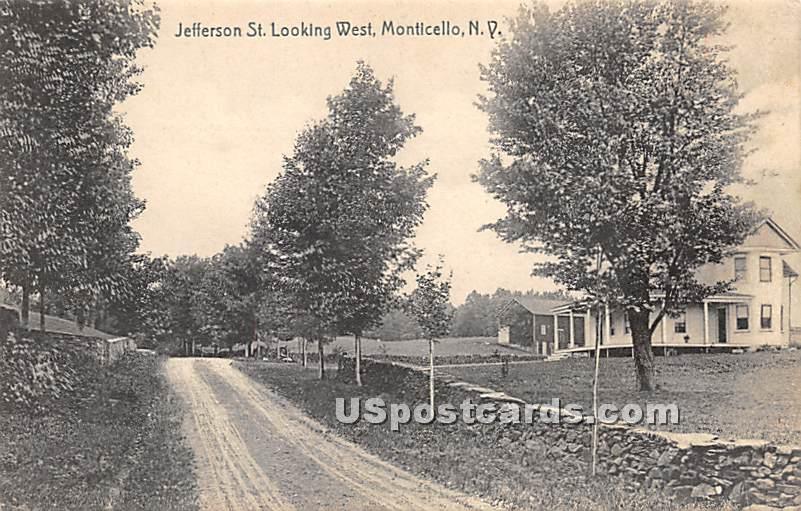Jefferson Street - Monticello, New York NY Postcard