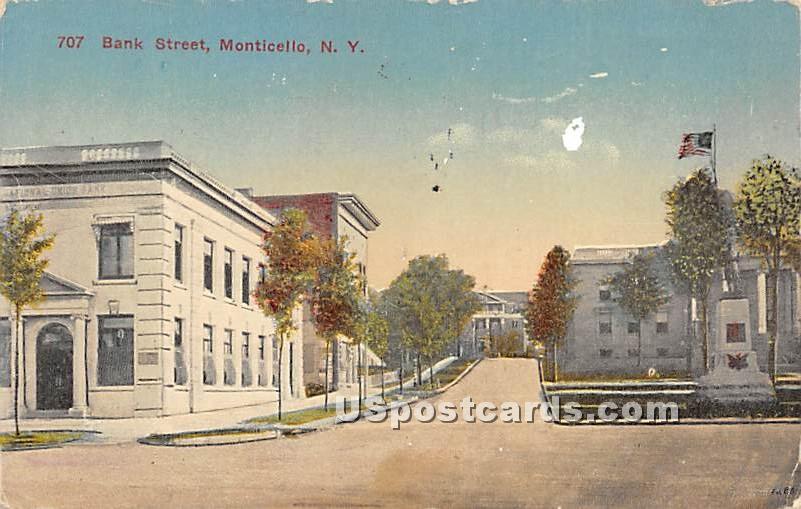 Bank Street - Monticello, New York NY Postcard