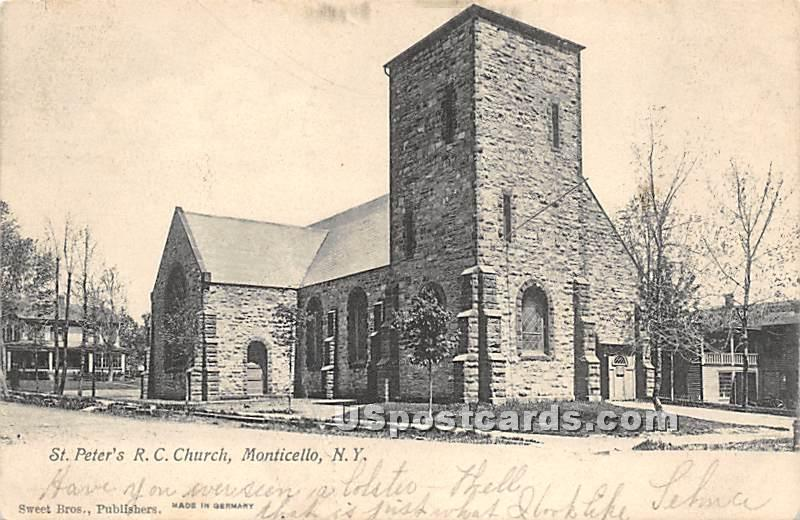 St Peter's RC Church - Monticello, New York NY Postcard