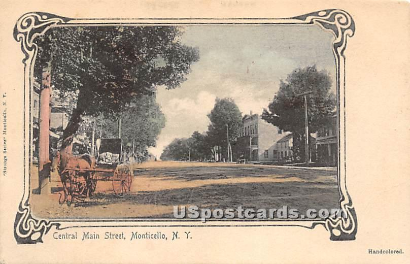 Central Main Street - Monticello, New York NY Postcard