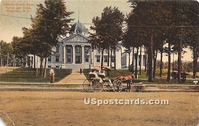Sullivan County Court House and Green - Monticello, New York NY Postcard