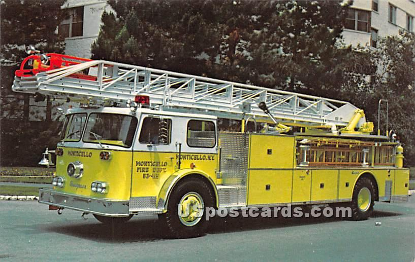 1978 Seagrace Aerial Ladder - Monticello, New York NY Postcard