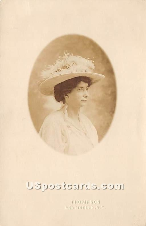 Lady with Hat - Monticello, New York NY Postcard