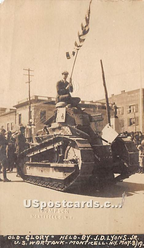 Old Glory, US War Tank - Monticello, New York NY Postcard