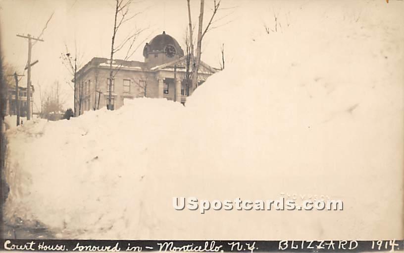 Court House & Presbyterian Church - Monticello, New York NY Postcard