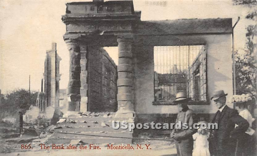 Bank after the Fire - Monticello, New York NY Postcard