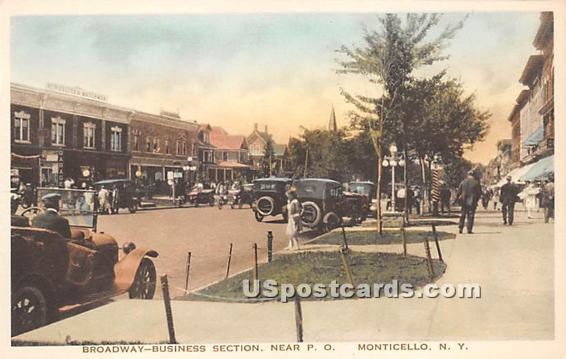 Broadway Business Section - Monticello, New York NY Postcard