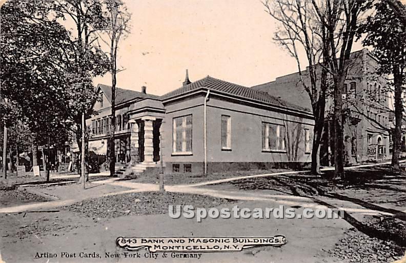 Bank & Masonic Buildings - Monticello, New York NY Postcard
