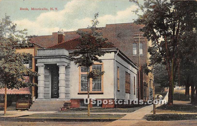 Bank - Monticello, New York NY Postcard
