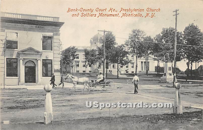 Bank County Court House - Monticello, New York NY Postcard