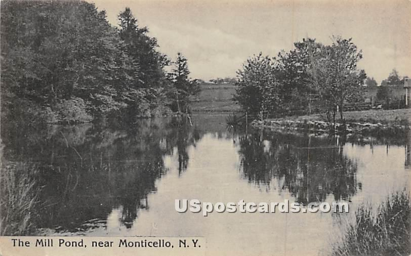 The Mill Pond - Monticello, New York NY Postcard