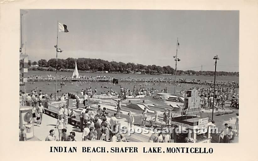 Indian Beach - Monticello, New York NY Postcard