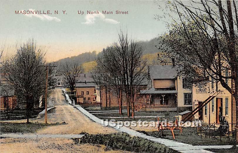 Up North Main Street - Masonville, New York NY Postcard