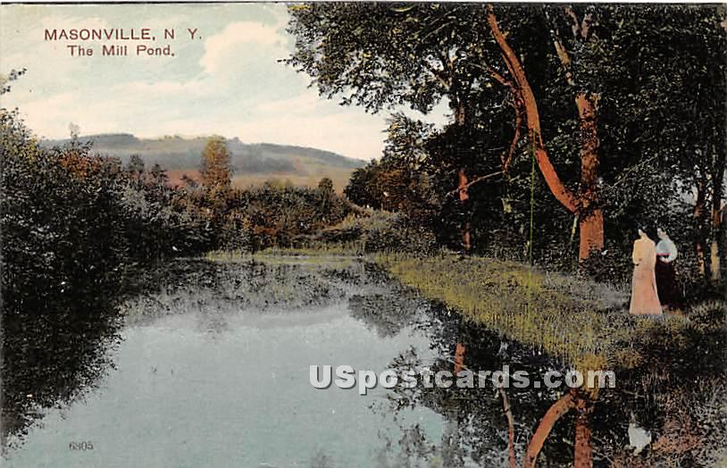 Mill Pond - Masonville, New York NY Postcard