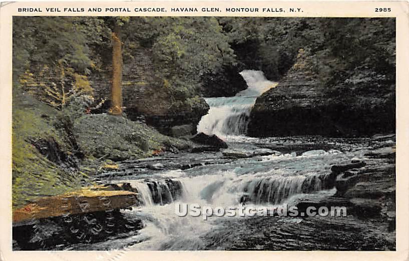 Bridal Veil Falls, Portal Cascade - Montour Falls, New York NY Postcard
