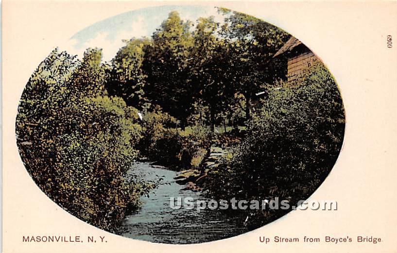 Up Stream, Boyce's Bridge - Masonville, New York NY Postcard
