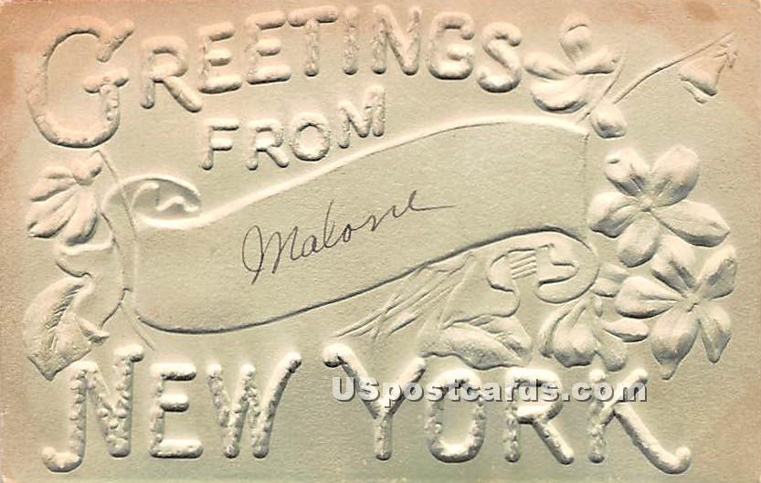 Greetings From - Malone, New York NY Postcard