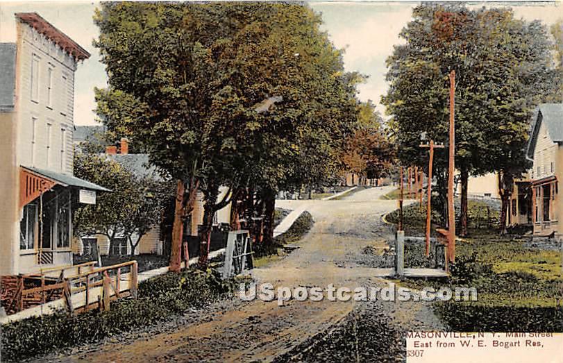 Main Street - Masonville, New York NY Postcard
