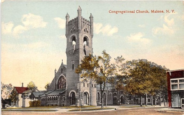 Congregational Church Malone, New York Postcard