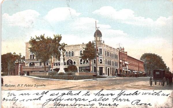 Public Square Malone, New York Postcard