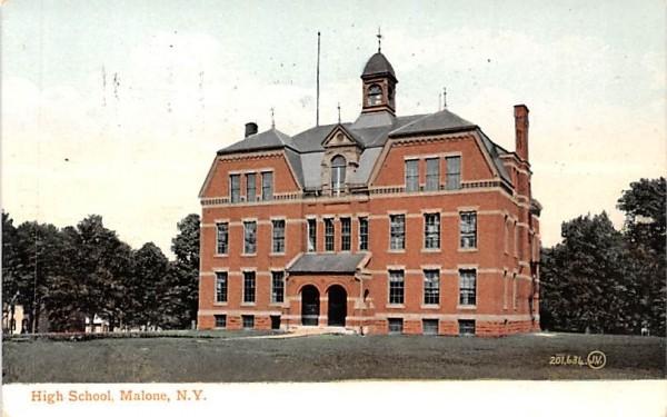 High School Malone, New York Postcard