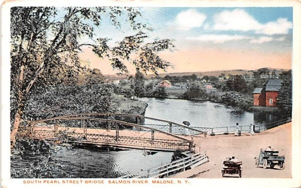 South Pearl Street bridge Malone, New York Postcard