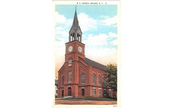 ME Church Malone, New York Postcard