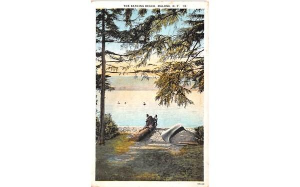 The Bathing Beach Malone, New York Postcard