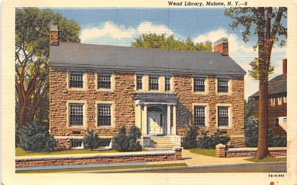 Wead Library Malone, New York Postcard