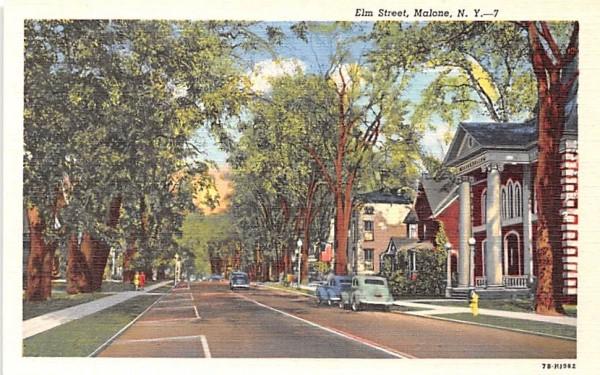 Elm Street Malone, New York Postcard