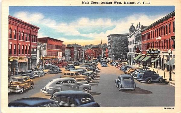 Main Street Malone, New York Postcard