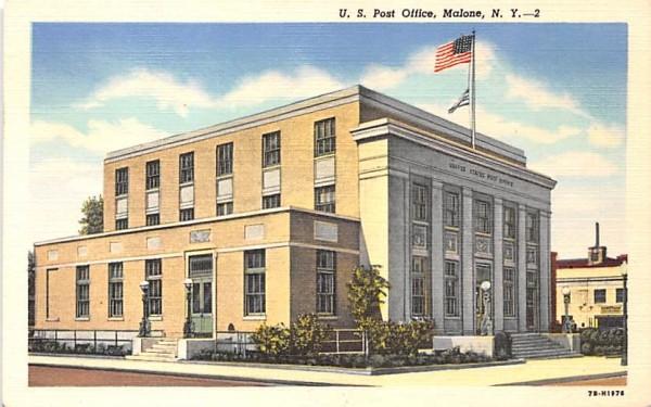 US Post Office Malone, New York Postcard