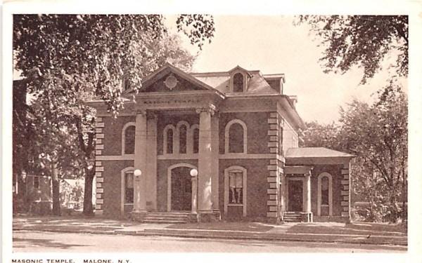 Masonic Temple Malone, New York Postcard