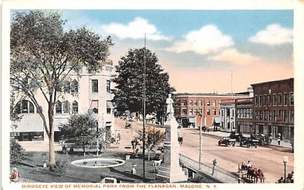 Memorial Park Malone, New York Postcard