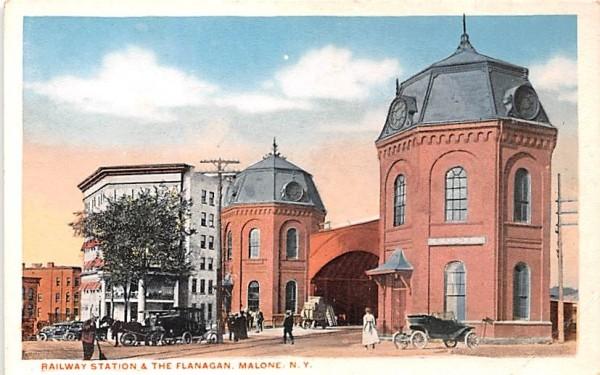 Railway Station Malone, New York Postcard