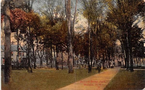 Second Street Park Malone, New York Postcard