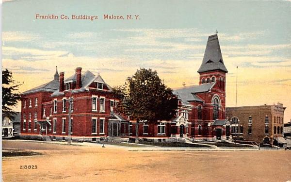 Franklin CO Buildings Malone, New York Postcard