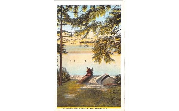 Bathing Beach Malone, New York Postcard